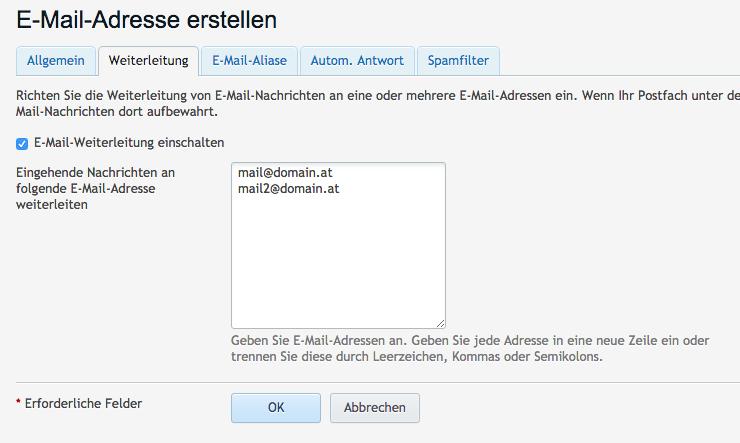 E-Mail Weiterleitungen in Plesk
